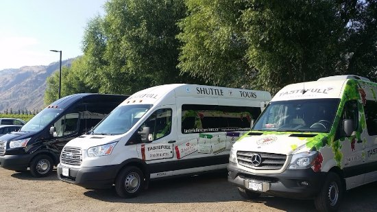 Three TasteFull Excursions vehicles at Monte Creek Ranch Winery in Kamloops