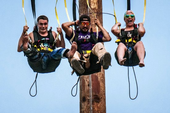 Chase, Canada: The 30ft of freefall on the Screamming Eagle Swing gets some pretty great reactions!