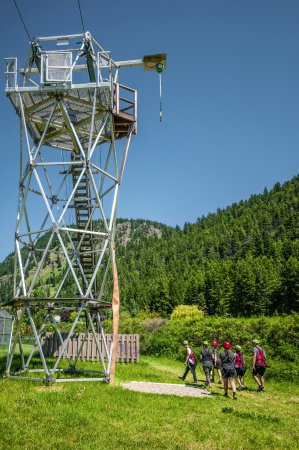Chase, Canada: First group of the morning about to climb the Flying Fox tower to start their zipline adventure.