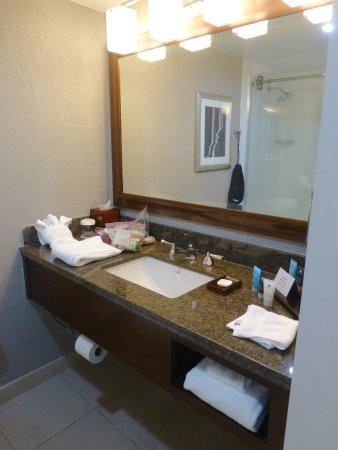 Sink, vanity etc. You can see the lack of towel racks.