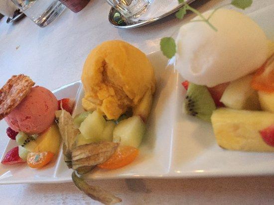 Uitgeest, Нидерланды: Het dessert! Sorbetijs met vers fruit