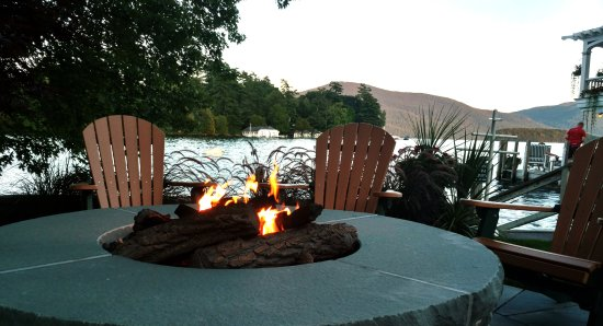 Boathouse Bed and Breakfast A Lake Castle Estate on Lake George: Fire pit