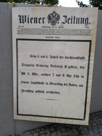Mayerling, Austria: Gazete küpürü tabela