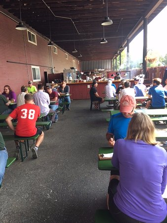 Outside dining area at Lost Nation Brewing