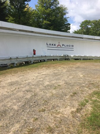 Bobsled and Luge Complex: Walking down the luge track.