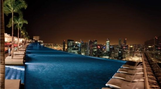 Marina Bay Sands: Sky Park Pool At Night