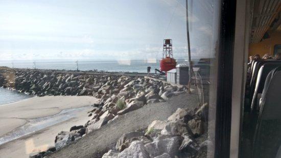 Train de Charlevoix: vue du fleuve prise à bord du train