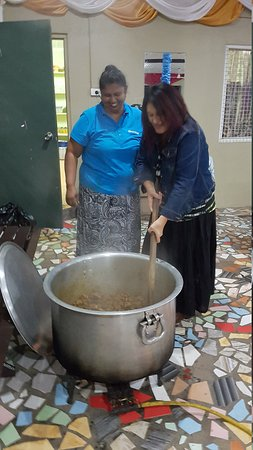 Learning how to cook curry Fiji style at Ebenezer Church Nasinu Central Suva.