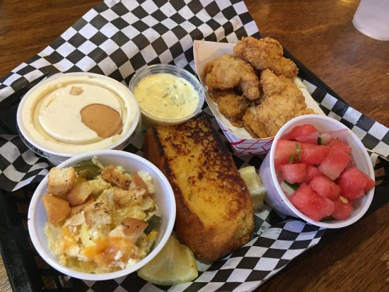 catfish platter comes with 2 sides cornbread drink for 11 and