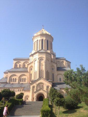 Tsminda Sameba Cathedral: The church outside.