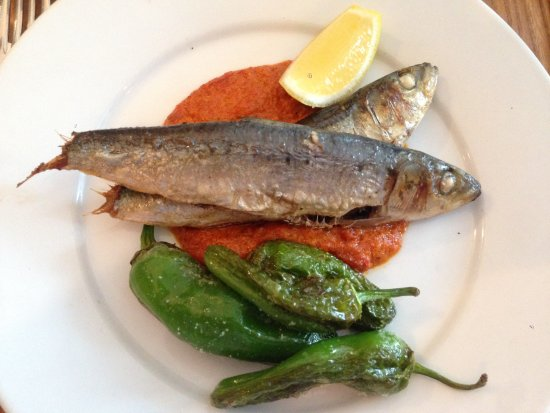Greens Restaurant Whole Roast Sardines With Romesco Sauce And Padron Peppers