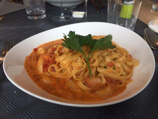 Ettelbruck, Luxembourg: Tagliatelle with shrimp and tomato sauce