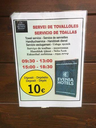 Evenia Olympic Suites Hotel : Evenia Resort. Towel deposit.
