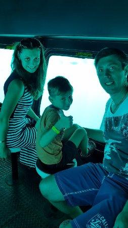 Plaza Safari Excursions: Submarine so clear to see so unique fishes and corals .