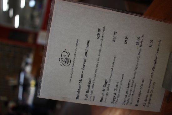 West Swan, Australia: Cafe Menu