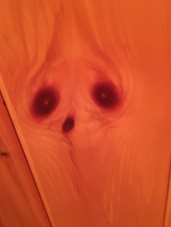 South Bristol, ME: Spooky faces in the pine on the bathroom walls
