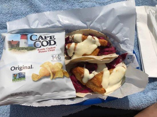 York Harbor, ME: Fried Mahi Mahi fish tacos!