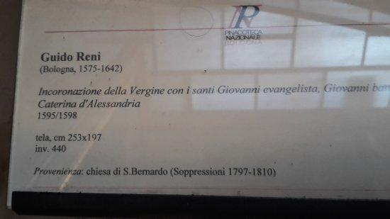 Pinacoteca Nazionale di Bologna : discalia sul quadro precedente