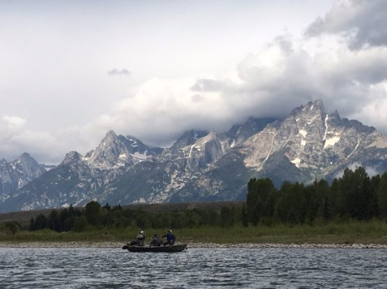 Solitude Float Trips: The Tetons in the morning light. The only other boat on this 2 hour trip was a fishing guide.