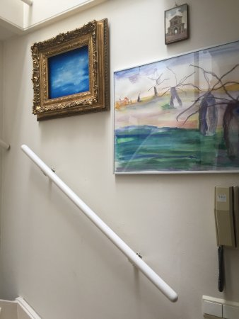 Rene & Mary's B & B: Dutch stairs, decorated with original art works