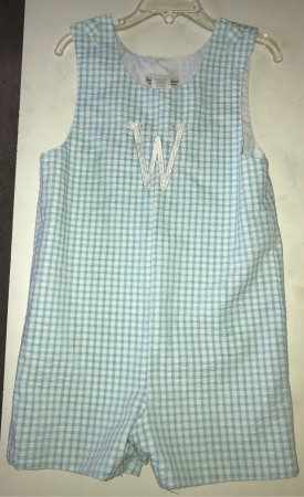 Cleveland, MS: Monogram by Heidi's on aqua blue check shortall and green and white check shortall