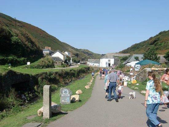 Boscastle, UK: National Trust Cafe located in the white building on the right as you go down towards the harbou