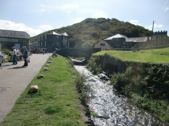 Boscastle, UK: View to the bridge with the river flowing