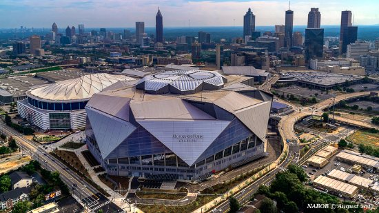 Atlanta Skyline Mercedes Benz Stadium >> Mercedes Benz Stadium just outside downtown - Picture of Atlanta Helicopters LLC, Atlanta ...