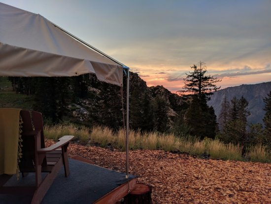 Bear Valley, CA: A deck view at sunset.