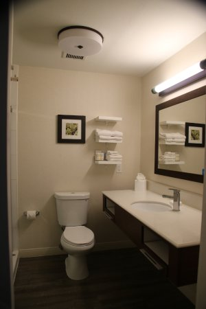 Hampton Inn Taos: Minimalist Bathroom -- NEVER Cleaned During 3 Day Stay
