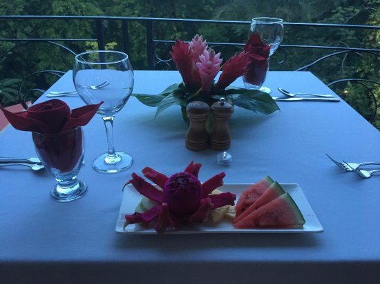"San Ignacio Resort Hotel: private dinner on balcony, with example of turn down ""treat"""