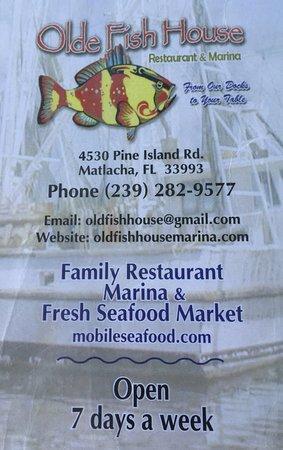 Menu picture of old fish house marina restaurant for Fresh fish market orlando