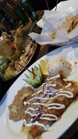 Fisherman's Landing: fresh catch sampler platter and enchiladas