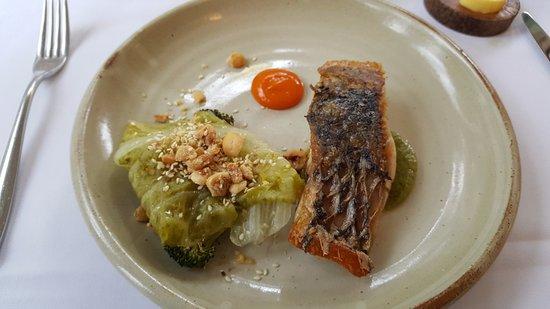 Barramundi, fermented cumquat, charred broccoli, cos lettuce