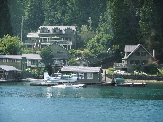 Bamfield, Canada: a view of the lodge from across the inlet