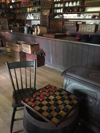 New Ulm, MN: checkers board next to wood stove