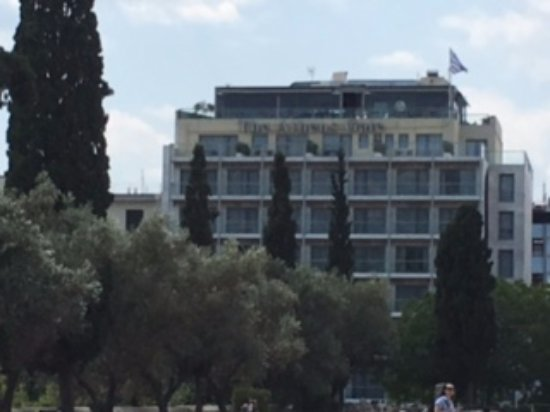 The Athens Gate Hotel: View of the hotel from Temple of Zeus