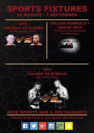 Reef Sports Bar & Restaurant: This Weekends Sports Action