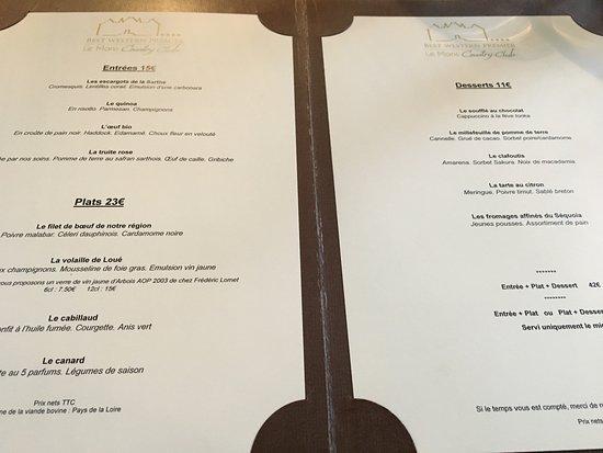 Yvre-l'Eveque, France: Le menu bis.