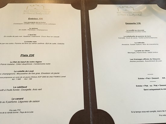Yvre-l'Eveque, Ranska: Le menu bis.