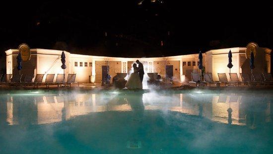 Hot Springs, VA: Bride & Groom by the Pool