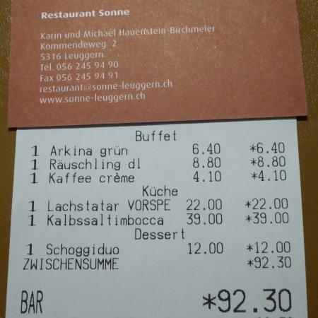 Leuggern, Svizzera: Rather pricey bill