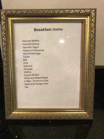 Sleep Inn: This is what they say they have for breakfast, but we had maybe 5 items actually available.
