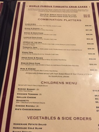 Timbuktu Restaurant Menu