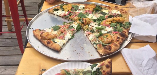 Elmore, VT: Special pizza - fried green tomatoes, local cheese, & more!