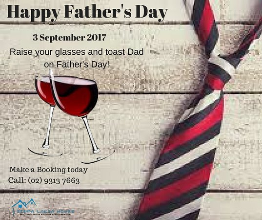 Kingsford, Australia: We are celebrating Father's Day on 1, 2 and 3 September 2017.  Did you get your vouchers yet?