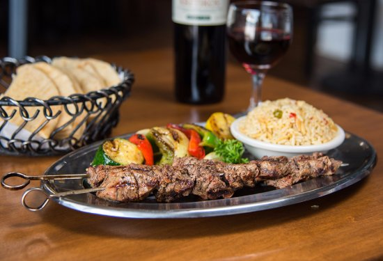 Yorkville, NY: Symeon's Souvlaki Platter with rice pilaf, vegetables, and wine.