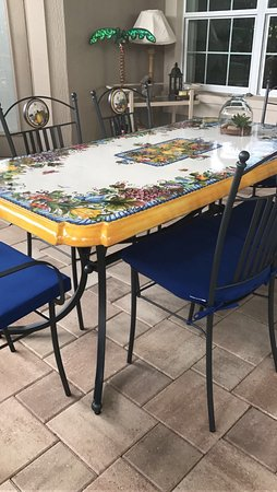 Emporio Della Ceramica: Hand Made U0026 Hand Painted Table Top With Wrought  Iron Chairs And