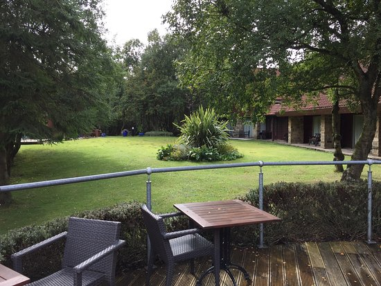 Chevin Country Park Hotel & Spa: View from decking towards Executive rooms
