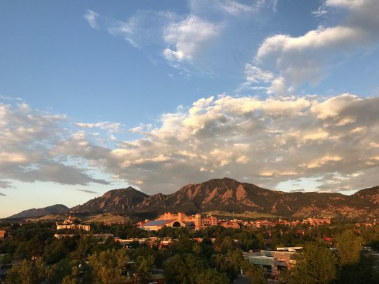 Boulder Marriott: The view is even better from the 5th floor guest patio (and clearer without a dirty window!)